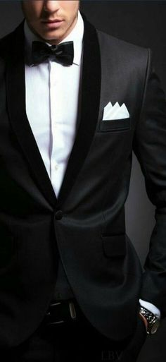 Take one man, add one tailored black tux = a very handsome guy ♡