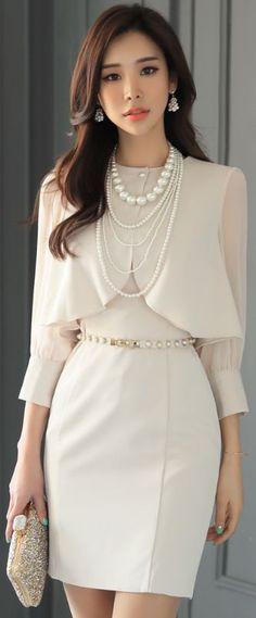 StyleOnme_Bolero Cardigan Set Sleeveless Dress #lightbeige #ivory #sleeveless #dress #elegant #springtrend #kstyle #koreanfashion #seoul