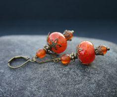 Orange Agate Earrings by InspiredTheory on Etsy
