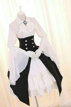 White dress with military high waist long black skirt