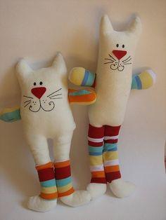 Игрушки животные, ручной работы. Ярмарка Мастеров - ручная работа Кот толстый и кот тонкий. Handmade.