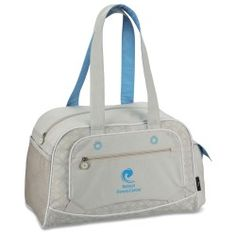 """""""I love this stylish duffel. It is perfect for going to the gym or weekend getaways."""" Keisha with 4imprint 6 months"""