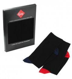 08d3d46f50a Coffret de 2 paires de chaussettes talons et pointes contrastés Bleu    Rouge www.kindy.fr