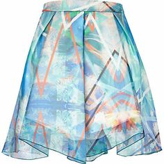 Blue abstract print chiffon A line skirt £40.00