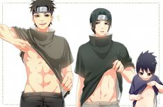 "Shisui: ""Yeah, look at my rippling body!""  Itachi: ""Is this really necessary?"" Sasuke: ""Mine doesn't look like that ..."""