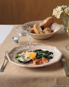 For a weekend brunch or a light dinner, serve fried eggs over spears of blanched asparagus and prosciutto; Parmesan is sprinkled on top.