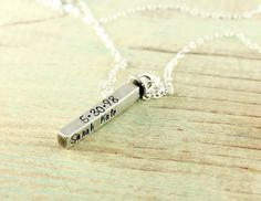 Mommy necklace - Sterling silver hand stamped 4-sided bar necklace - Mom jewelry - Name necklace - Family - Grandma - Swivel bar