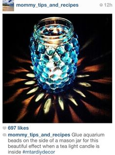 DIY Mason Jar Candle Holder - such a cool effect and would most certainly work with other votives! :}