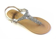 66aba1863 Womens T Strap Gladiator Sandals Flats shoes W Iridescent Rhinestones (11