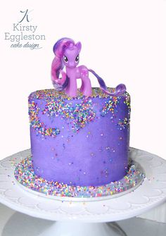 Simple Buttercream Frosted Cake with 100's & 1000's and Toy My Little Pony Topper