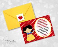 Convite Branca de Neve - Baby    Convite em papel fotográfico acompanha envelope amarelo e  etiqueta para fechamento do envelope.  Tamanho: 7 cm x 10 cm    Aprovação da arte via e-mail antes da produção.