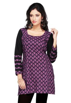 Readymade Cotton Short Kurti in Black and Magenta Enhanced with Screen Print Enhance with patch border in sleeve Please re-pin 😍💞 kurti ladies, indian cloth store near me, lehenga for women latest design, embroidered lehenga choli, indian clothes stores, anarkali dress latest design, engagement dress for bride online, india lehenga, bridal collection online, indian wear women, shadi collection dress Indo Western Kurti, Western Kurtis, Designer Kurtis Online, Cotton Shorts, Magenta, Printed Cotton, Anarkali Dress, Lehenga Choli, Indian Clothes