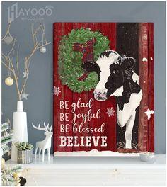Christmas Wall Art Canvas Cow Canvas, Canvas Wall Art, Canvas Prints, Art Prints, Christmas Wall Art Canvas, Cow Wall Art, Woodland Nursery Decor, Baby Deer, Animal Nursery