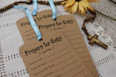 Set of 12 Baby Shower or Baptism Wishing Tree Tags - Prayers for Baby Neutral Kraft Paper Vintage Rustic