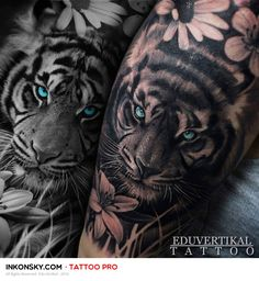 Trendy Tattoo Leg Tiger Flower Ideen - - tattoo tattoo tattoo calf tattoo ideas tattoo men calves tattoo thigh leg tattoo for men on leg leg tattoo Paar Tattoos, Trendy Tattoos, Future Tattoos, Sexy Tattoos, Body Art Tattoos, Tattoos For Guys, Tattos, Leopard Tattoos, Animal Tattoos