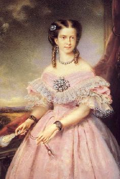 1862 Maria Pia wearing a crinoline by ? (location unknown to gogm)  Previous  Next  List    Maria Pia had to learn to dress and play the Leading Lady role early as shown in this portrait of her wearing an evening dress and jewelry.