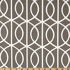 Designed by Dwell Studio for Robert Allen Home, this fabric is screen printed cotton slub duck cloth (linen appearance), this versatile medium weight fabric is perfect for window accents (draperies, valances, curtains and swags), toss pillows, bed skirts, duvet covers, slipcovers and more! Get creative with tote bags and aprons, too! Colors include ivory outlined in black on a grayish taupe background.