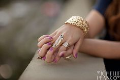 Show off a feminine manicure with a bold statement ring