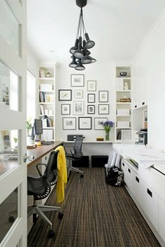workspace - perfect bright and practical workspace for a small room - big table facing the window, inspiration wall, big white cupboard for storage