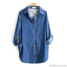 Wow~ Awesome Leisure Denim Long Sleeve Shirt Lapel Double Pockets Loose Female Top! It only $34.99 at www.AtWish.com! I like it so much<3<3!