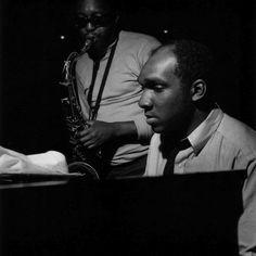 Hank Mobley and Harold Mabern during Mobley's Dippin' session, Englewood Cliffs NJ, June 18 1965 Photo by Francis Wolff Hard Bop, Jazz Artists, Jazz Musicians, Miles Davis, Fat Cat Nyc, Francis Wolff, Vaughan, Saxophone Players, Tenor Sax