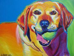 Colorful Pet Portrait Labrador Dog Art Print 8x10 by dawgpainter, $14.00