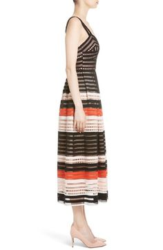 Main Image - Lela Rose Windowpane Lace Midi Dress