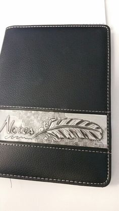 Leather & pewter notebook cover by Debbie @ Pewter Studio