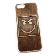 Чехол для iPhone 5 из дерева кусия, ручная работа, Злой смайлик