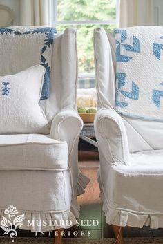 hemp sheet slipcovers - Miss Mustard Seed Living Room Upholstery, Upholstery Tacks, Upholstery Cushions, Furniture Upholstery, Upholstery Fabrics, Painted Furniture, Furniture Design, Upholstery Repair, Upholstery Cleaning