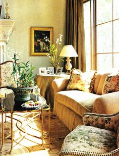 So, so pretty...like the mix of earth colors, beautiful windows, skirted table and accessorizing, art, etc.  The only thing I might change would be to have the walls a shade or two darker to make it even warmer - quite beautiful nonetheless.