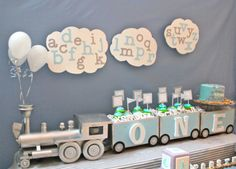 Sing Your ABCs Theme: All aboard! A is for adorable at this alphabet train first birthday. This party pulled out all the stops for one aspiring conductor, including a dessert-carrying train and letter-themed treats.