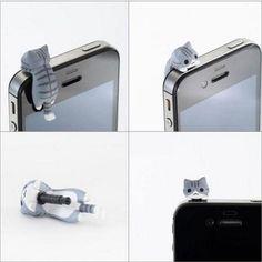 New Cat Dust Earphone Ear Cap Anti Jack Plug Cover for iPhone 5 4 4S 3G Samsung