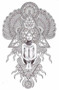 Mandala geometric tattoo I love 7 Arts, Sacred Geometry Tattoo, Arte Tribal, Psy Art, Geometry Art, Geometry Shape, Mystique, Visionary Art, Sacred Art