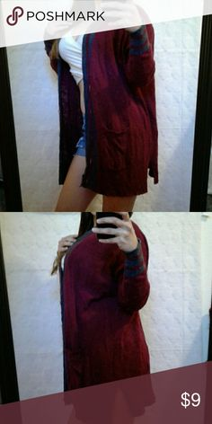 "Arizona Wine Red Cardigan Sweater Excellent condition  20% acrylic-80% cotton 2 front pockets Model is 5""2, 115 lbs & 34D Bust: 24"" (relax) Length: 32"" (shoulder to bottom hem) Arizona Jean Company Sweaters Cardigans"