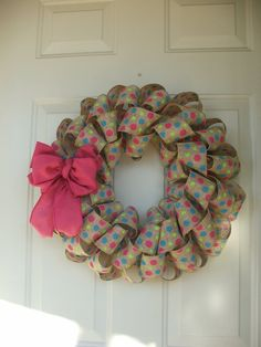 Spring Easter Birthday Pink Lime and Turquoise Burlap Ribbon Wreath by TowerDoorDecor, $35.00