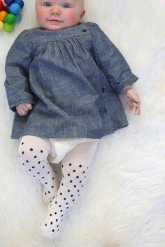 DIY Polka Dot Baby Tights | A cute DIY fashion for cute babies. Easy Sewing Tutorial