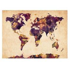 Michael Tompsett 'Watercolor Map 2' Canvas Art
