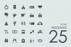 25 Wedding icons + BONUS by Palau on @creativemarket