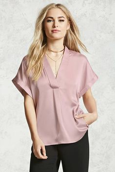 Forever 21 Contemporary - A kimono-style satin top featuring a V-neckline, cuffed short sleeves, and a center pleat.