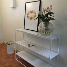 """I would also love to one of their """"hallway"""" tables in the hallway, if we find something for the hall that has enough drawers so that we don't need drawers for the table in the hallway. This one in all white is lovely."""