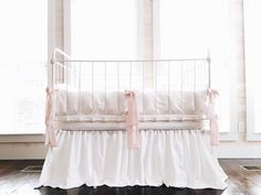 Cinderella Style Washed Cotton Crib Bedding in White - White Ruffle on Bumpers - Baby Pink Ties
