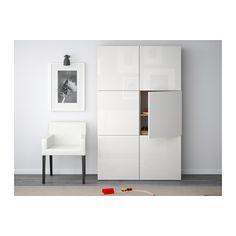 BESTÅ Opberger met deuren, grijs gelazuurd walnootpatroon, Selsviken hoogglans/wit 120x40x192 cm grijs gelazuurd walnootpatroon/Selsviken hoogglans/wit -