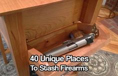 40 Unique Places to Stash Firearms. You don't want your guns in the wrong hands. You want to keep your guns close but hidden from kids and unwanted guests Hidden Gun Storage, Secret Storage, Secret Hiding Places, Hiding Spots, Hidden Compartments, Secret Compartment, Camouflage, Hidden Spaces, Home Defense