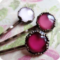 Hair Holiday: pink ombre glass jewel aged brass fancy crown setting bobby pin set of 3