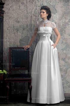 """Wedding Dress from Mikado and Unique Corse Chic and Elegant Aristocratic Gown with Pockets - """"Vesta"""" Chic Wedding Dresses, Unique Wedding Gowns, Designer Wedding Gowns, Bridal Gowns, Prom Dresses, Custom Dresses, Unique Dresses, Vestidos Vintage, Vintage Dresses"""