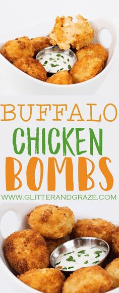 If you love buffalo chicken these are perfect for you.These buffalo chicken bombs have a burst of the perfect amount of gooey cheese and buffalo sauce. #buffalo #chicken #partyfood #footballfood #appetizers