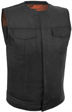 True Element Mens Round Neck Leather Motorcycle Club Style Vest (S-5XL)