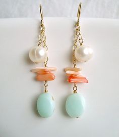 Peach Coral Blue Opal Earrings, Gold Filled Dangle Earrings With Peruvian Blue Opal, White Pearls, and Peach Coral. $32.00, via Etsy.