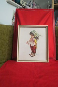 £9.99 Vintage Brownie Downing framed kitsch print of an Aborigine girl with a daisy. Australia 50s 1950's art by VintageBlingAndBags on Etsy